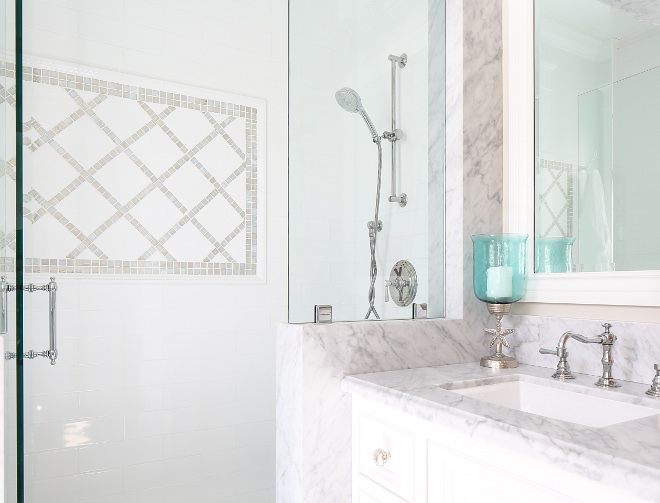 Bathroom. Beautiful combination of tiles. Bathroom tile combination ideas. #Bathroom #Bathroomtilecombination Patterson Custom Homes. Interiors by Trish Steele, Churchill Design.