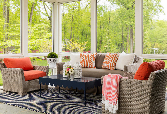 Screened-in porch furniture and decor. Screened-in porch furniture and decor ideas. Screened-in porch furniture and decor color palette. Beautiful Screened-in porch furniture and decor. #Screenedinporch #Screenedin #porch #porchfurniture #porchdecor Martha O'Hara Interiors