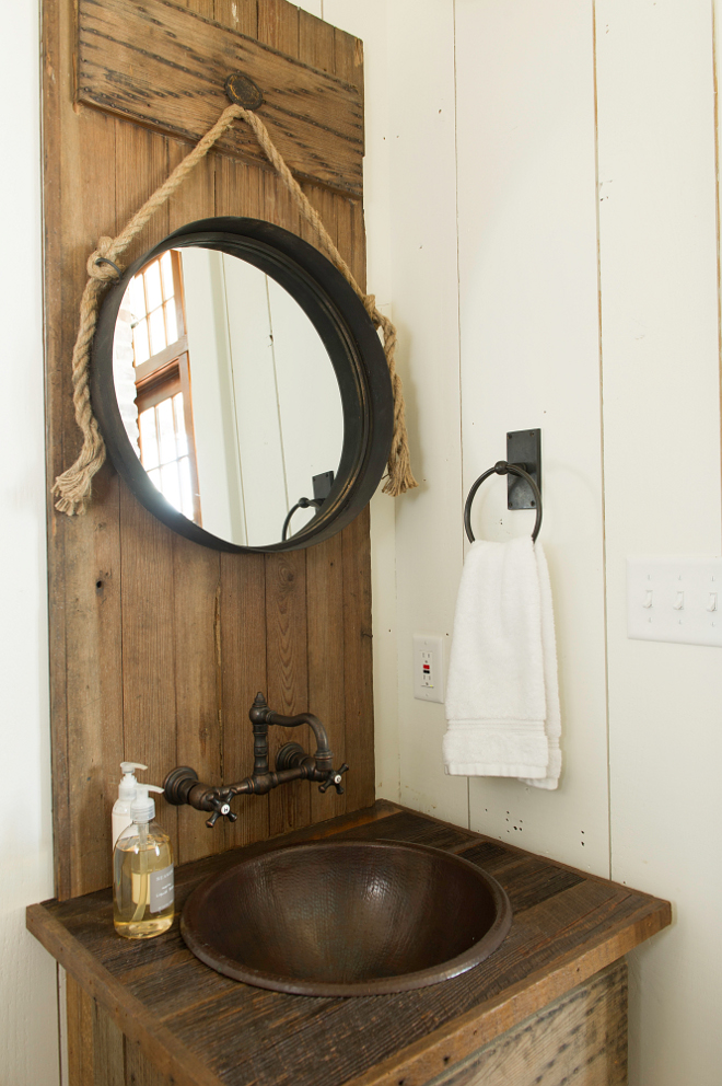 Rustic Powder Room Vanity And Wood Behind Was Made Of Reclaimed Door From Home