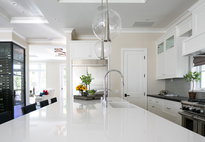 White quartz. Island slab is Silestone White Zeus quartz. White quartz countertop. Kitchen white quartz countertop. #Silestonewhitequartz  #WhiteZeus #WhiteZeusquartz. #kitchenquartz #whitequartz Patterson Custom Homes. Brandon Architects, Inc.