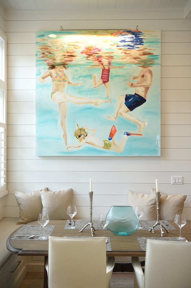 Beach house painting. Artwork is by Ashley Longshore. Beach house art ideas. Coastal art. Beach house painting ideas. Beach house art. #Beachhouseart #CoastalArt #Beachhousepainting #painting #art #Artwork #AshleyLongshore Interiors by Courtney Dickey of TS Adams Studio.