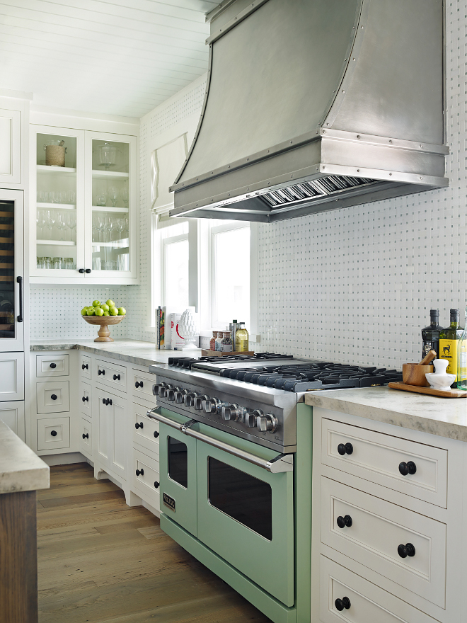 "Kitchen steel vent hood. White Kitchen with steel vent hood. Kitchen with steel hood, inset cabinets and 48"" Viking Range in Sage Green. Kitchen steel vent hood ideas. Custom Kitchen steel vent hood #Kitchen #steelventhood #steelHood #kitchenhood #customhood #kitchenhoods T.S. Adams Studio, Architects"