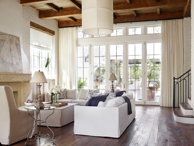 Living room beam ceiling is heart of pine. #heartofpine #beams Interiors by Courtney Dickey of TS Adams Studio