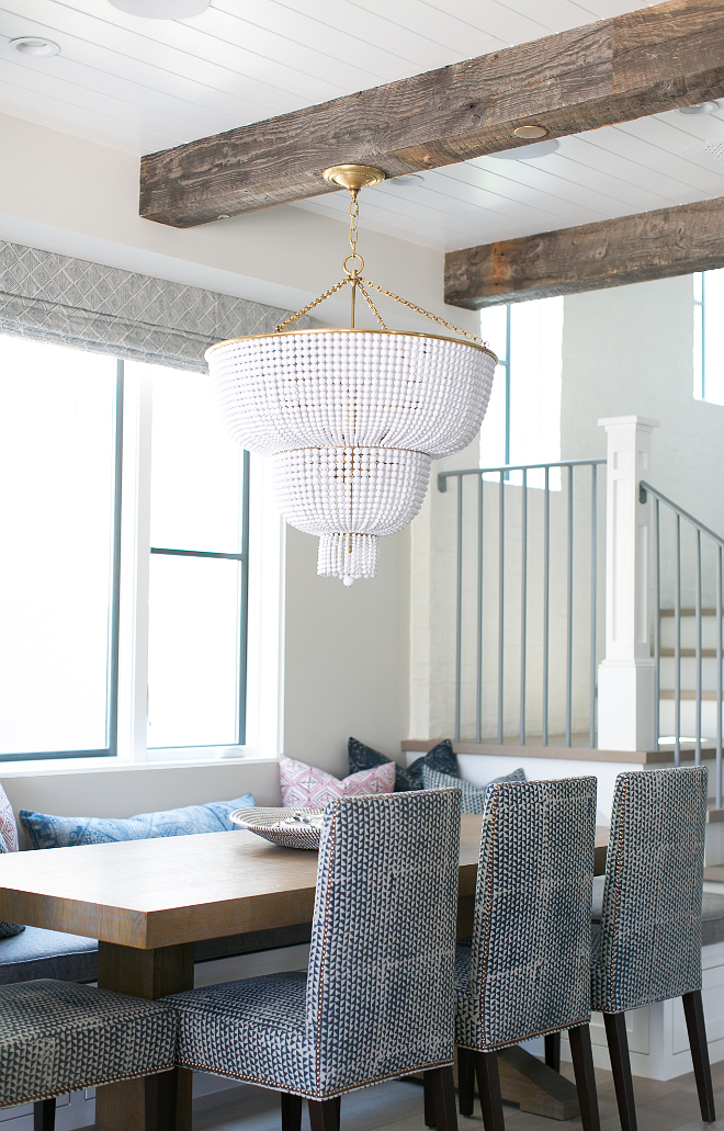 Jacqueline Two-Tier Pendant in White Glass by Aerin. This stunning white beaded chandelier is Jacqueline Two-Tier Pendant in White Glass by Aerin. #JacquelineTwoTierPendantinWhiteGlass # AerinLighting Patterson Custom Homes