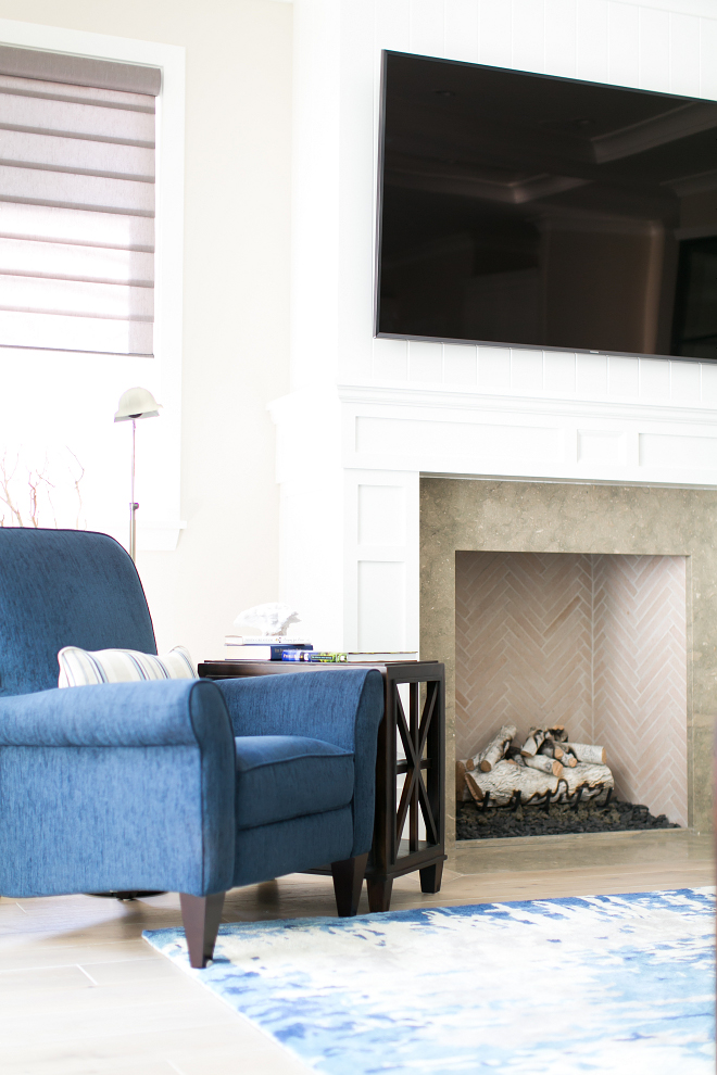 Fireplace surround. Fireplace stone surround. The stone used on the fireplace is Seagrass Limestone. #fireplace #stonesurround #fireplacestonesurround #SeagrassLimestone Patterson Custom Homes. Brandon Architects, Inc.