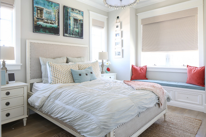 This kids bedroom feels cozy and relaxed. I love the furniture and the neutral wall color. Patterson Custom Homes. Interiors by Trish Steele, Churchill Design.
