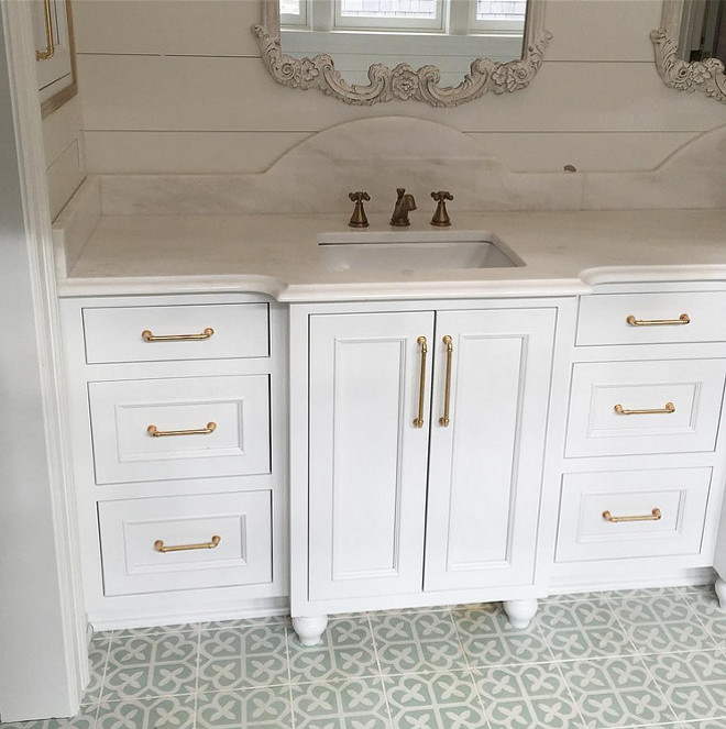 "Neutral Cement Tile. This bathroom features neutral cement tiles from ""Cement Tile Shop"", large plank walls and white inset cabinetry. Bathroom with neutral cement tile by Cement Tile Shop. Bathroom cement tile. #Bathroomcementtile #CementTileShop #Neutralcementtile #cementtileideas Artisan Signature Homes."