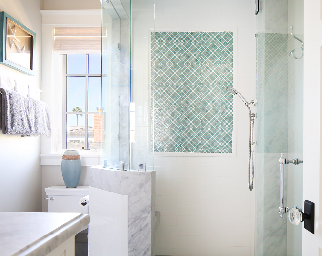 "Shower Tile Ideas. Shower tile design. Shower tile pattern. For the shower, the designer selected white subway tiles and 1""x 1"" onix nieve green tiles. #shower #Tiles Patterson Custom Homes. Interiors by Trish Steele, Churchill Design."