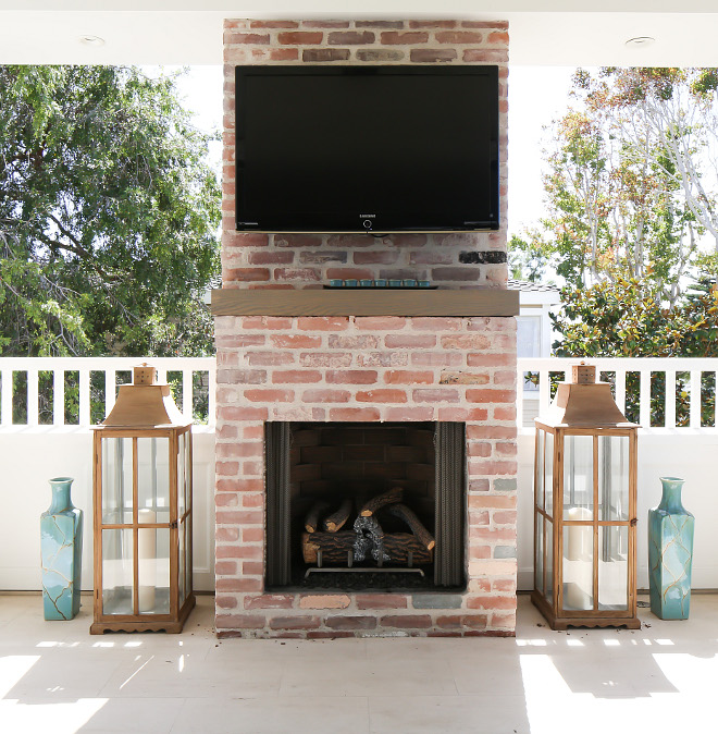 Outdoor TV. Outdoor TV. TV mounted on an outdoor fireplace. Outdoor TV #Outdoor #TV Patterson Custom Homes. Interiors by Trish Steele, Churchill Design.