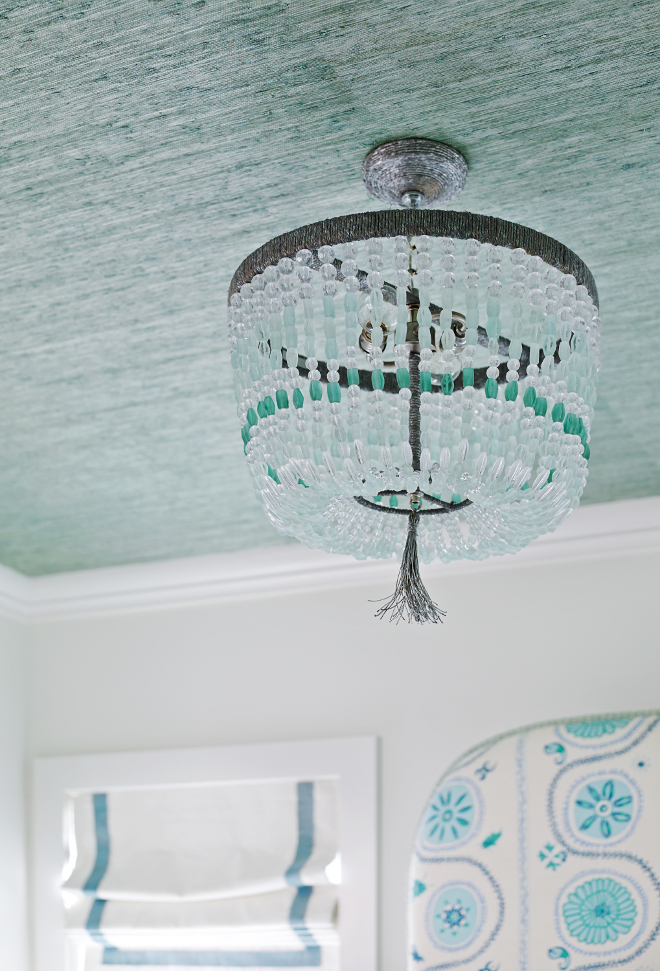 Ro Sham Beaux Malibu 1-Arm Sea Chandelier. Bedroom featuring seafoam green grasscloth wallpaper and a Ro Sham Beaux Malibu 1-Arm Sea Chandelier. #RoShamBeauxMalibu1ArmSeaChandelier T.S. Adams Studio, Architects