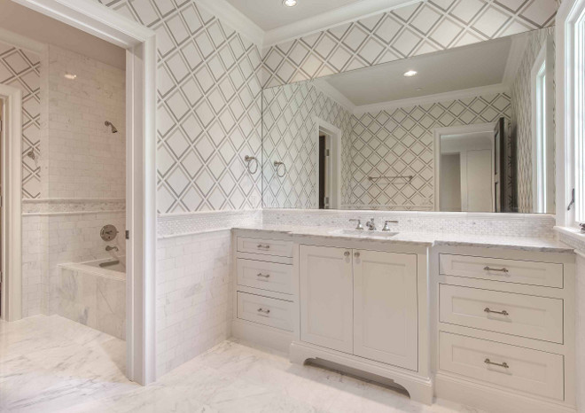 Bathroom with marble floor tiles and half wall marble tile  Wallpaper over  half wall tile. Interior Design Ideas   Home Bunch Interior Design Ideas