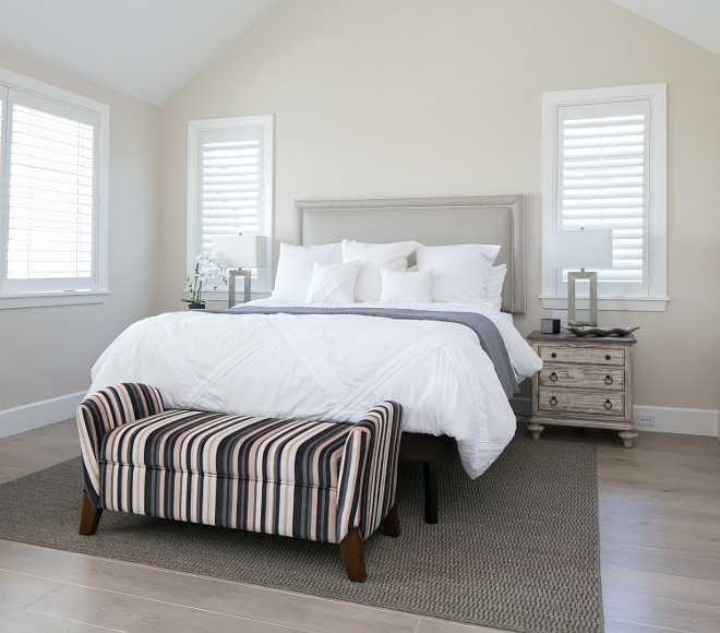 "Paint is ""White Duck"" by Sherwin Williams (SW7010). Neutral bedroom paint color ""White Duck"" by Sherwin Williams (SW7010). #NeutralBedroompaintcolor #neutral #bedroom #paintcolor   Patterson Custom Homes. Brandon Architects, Inc."