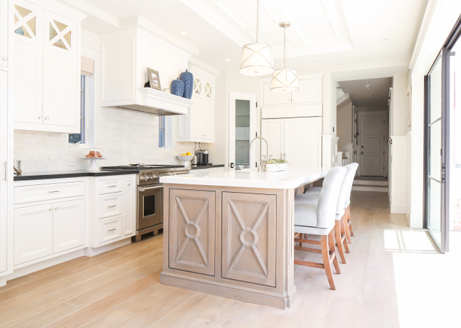 Kitchen floors. Kitchen hardwood floors. Wood floors are white oak with a custom stain applied after installation. #kitchenfloors #hardwoodfloors #woodflooors #whiteoakfloors #whiteoakhardwood #whiteoakhardwoodfloors Patterson Custom Homes. Interiors by Trish Steele, Churchill Design.