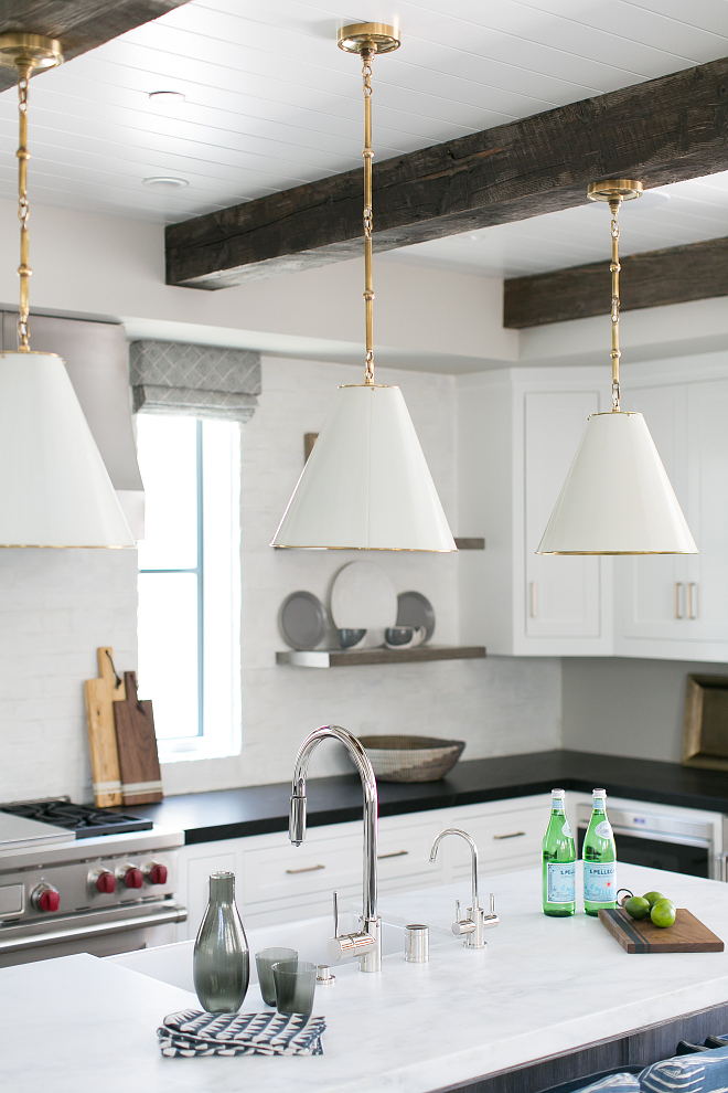 Kitchen Lighting. The kitchen lighting is Thomas O'Brien Goodman 2 Light Hanging Shade. Kitchen pendant lighting. Lighting #kitchenlighting #lighting #pendants #kitchenpendants #lightingpendants #ThomasOBrienGoodman2LightHangingShade Patterson Custom Homes