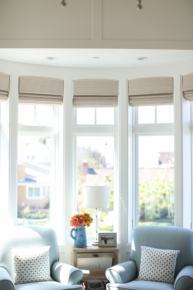 Bay window covering. Bay window covering. I find the best way to dress bay windows is by adding Roman shades to them. They usually look subtle and simple. Bay window covering ideas. #Baywindowcovering Patterson Custom Homes. Interiors by Trish Steele, Churchill Design.