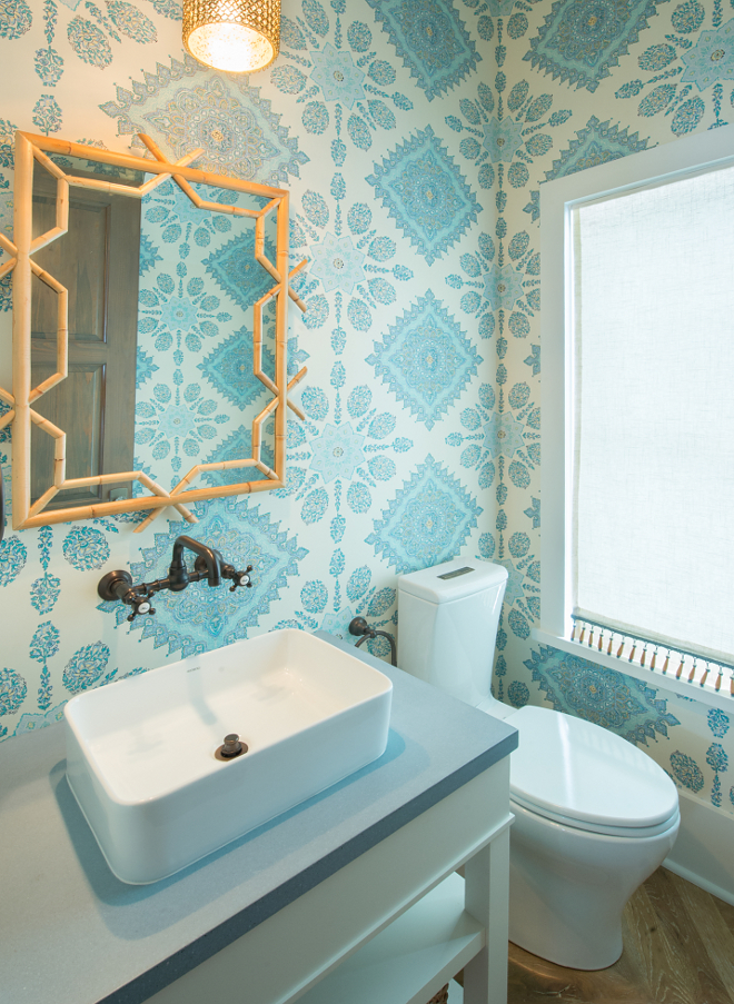 Powder Room Wallpaper. Powder Room Wallpaper source on the blog. Powder Room Wallpaper This has to be one of my favorite rooms in the house! Simply gorgeous! Wallpaper: Quadrille Isfahan Multi Turquoise Celedon Teal on Cream HC1980C-05. Vanity: Custom, painted in Benjamin Moore White Dove. Countertop: Concrete. Wall Faucet: Rohl. Mirror: Serena and Lily. Light Fixture: Regina Andrews. Flooring is reclaimed Oak. #PowderRoomWallpaper