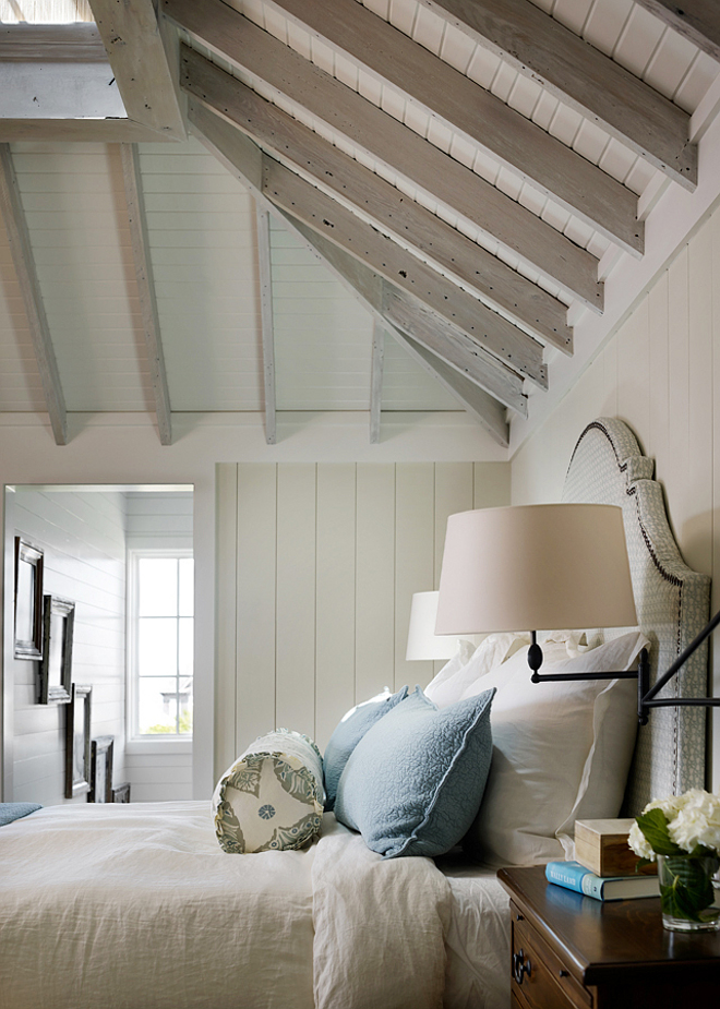 White washed beams and rafters. Bedroom features white washed beams, rafters vertical wall planks. #WhitewashedCeiling #Whitewashedbeams #whitewashedwoodceiling #whitewashedwood #whitewashedbeams #whitewashedrafters T.S. Adams Studio, Architects