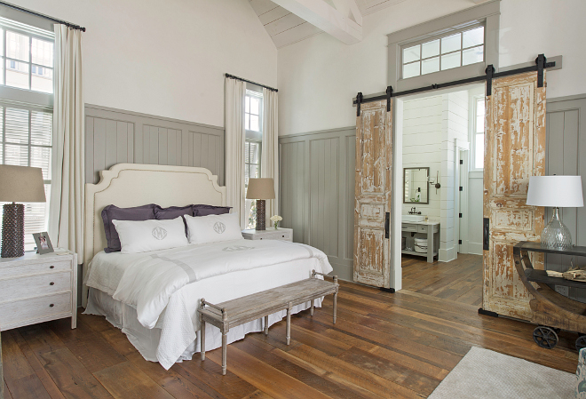 Bedroom Paint Color: Wainscoting: Sherwin Williams Dorian Gray. White Venetian Plaster: BM White Dove. #SherwinWilliamsDorianGray #WhiteVenetianPlaster #BMWhiteDove. Interiors by Courtney Dickey and T.S. Adams Studio.