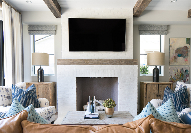 brick fireplace white brick fireplace with reclaimed wood mantel painted white brick fireplace with - Homes Interior Design Photos