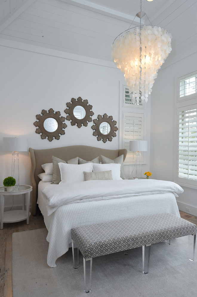 Mirror above bed. Mirrors above bed idea. Mirror above bed. 3 mirrors above bed are Aidan Gray. #Mirrorabovebed #mirrorsabovebed #mirrorbed #mirrors #bed #bedroomMirror Interiors by Courtney Dickey of TS Adams Studio.