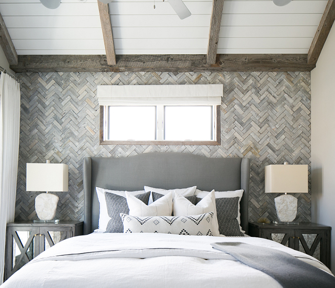 "The Herringbone wooden wall is Mulberry Herringbone Whitewash Mosaics (2""x6""). Herringbone wood wall. Patterson Custom Homes"
