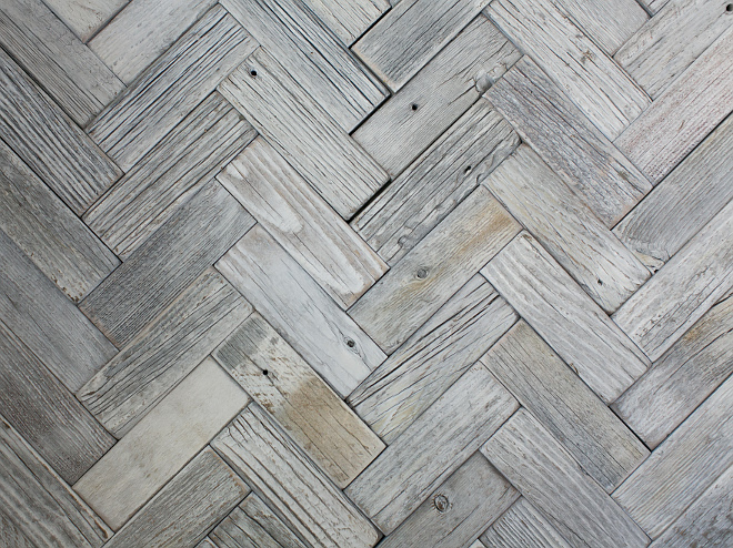 "Mulberry Herringbone Whitewash Mosaics (2""x6""). These are white washed mulberry wood pieces laid in a Herringbone pattern. Patterson Custom Homes"