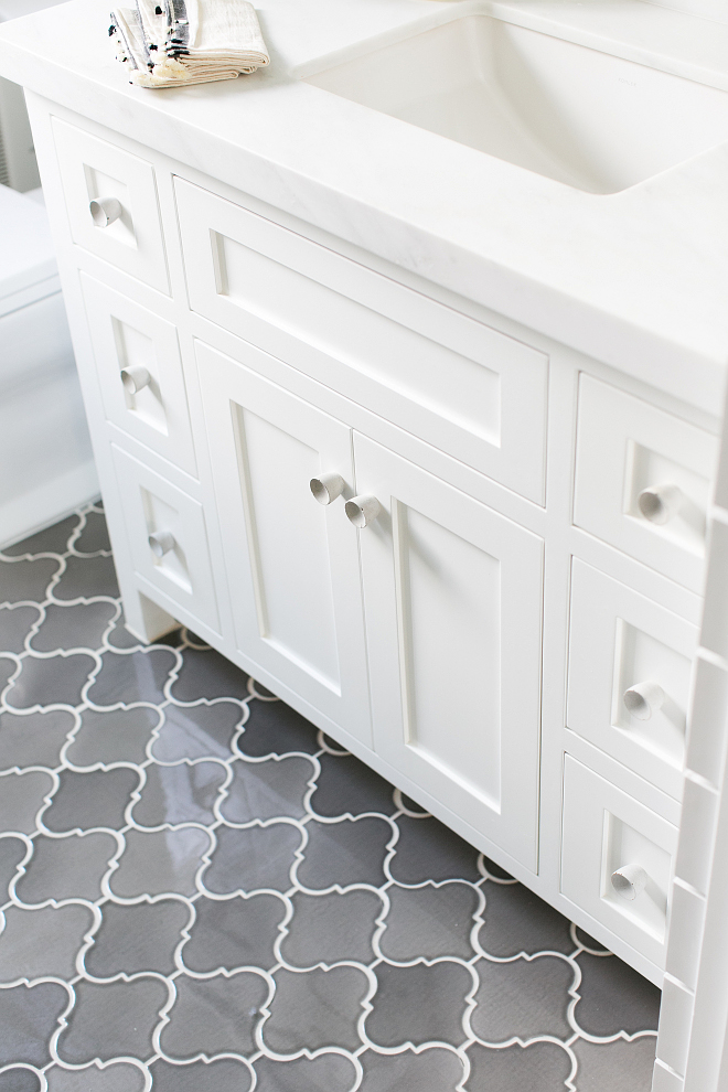 "Gray floor tiles. The gray tiles are 6"" Arabesque Iron City Crackle tile is from Famosa Tiles. Gray Arabesque Tiles. #Graytiles #graytiling #ArabesqueIronCityCrackletile #Crackletile Patterson Custom Homes"