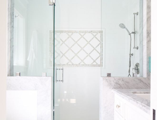White subway tile in shower. The shower feels extra bright thanks to its white subway tiles. #shower #subwaytile #whitesubwaytile Patterson Custom Homes. Interiors by Trish Steele, Churchill Design.