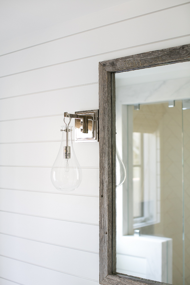 Reclaimed Wood Mirror. The sconce is from Arteriors and is called the Sabine Sconce. Reclaimed Wood Mirror Ideas. Reclaimed Wood Mirrors. Reclaimed Wood Mirror Stain. Natural Reclaimed Wood Mirror. #ReclaimedWoodMirror Patterson Custom Homes