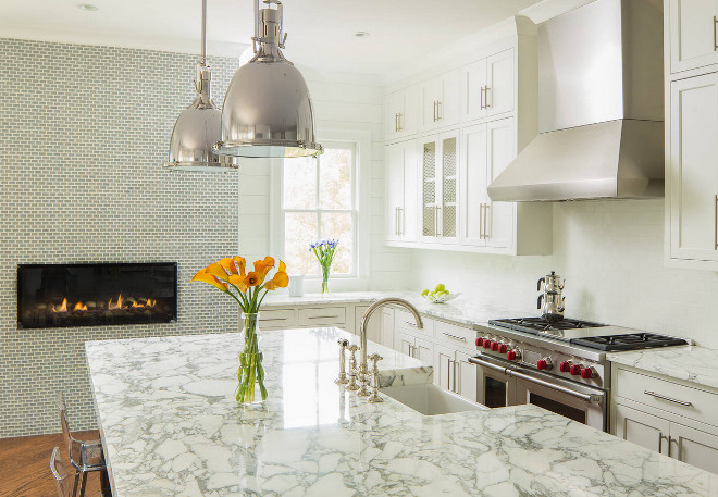 Arabescata marble. Arabescata marble. Kitchen with thick marble countertop - Arabescata marble countertop. #Arabescata #marble #countertop #kitchen #thickmarblecountertop T-Olive Properties