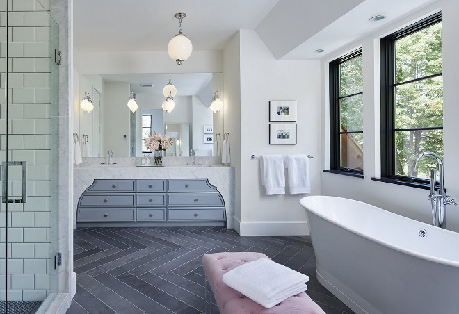 Herringbone Slate Floor Tiles. Bathroom Herringbone Slate Floor Tiles. Herringbone Slate Floor Tiling. Herringbone Slate Floor Tile. #HerringboneSlateFloorTiles #HerringboneSlateFloorTile #HerringboneSlateFloorTiling #Bathroomslatefloor #slatefloor #slatefloortile #slatetile #slatetiling Charlie & Co. Design, Ltd. Corey Gaffer Photography.