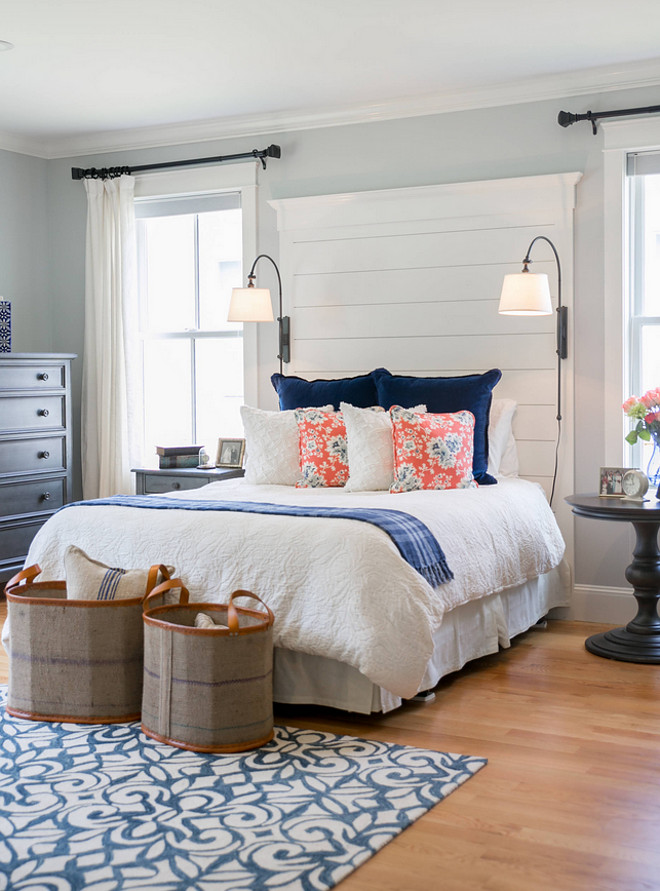 Benjamin Moore Sterling. Benjamin Moore Sterling with Benjamin Moore White Dove on Headboard and Trims. Benjamin Moore Sterling. #BenjaminMooreSterling The Good Home - Interiors & Design