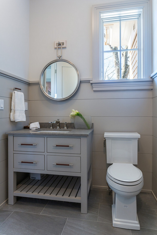 Benjamin Moore shale 861. Benjamin Moore shale 861 on shiplap walls and cabinet. #BenjaminMooreshale861 SIR Development. Shawna Feeley Interiors.