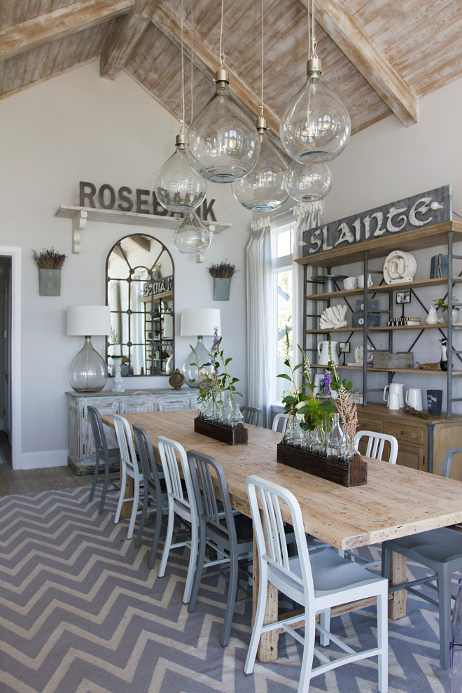Dining Room Farmhouse Coastal With Whitewashed Ceiling Planks
