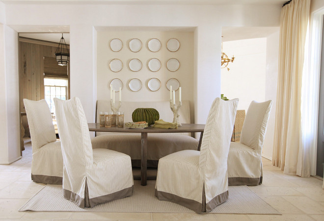 Dining Room Wall Plates Neutral Painted In A Creamy White Paint Color And