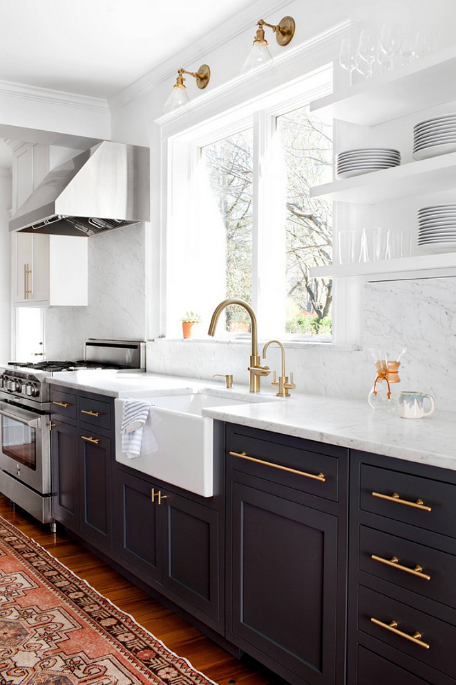 Brass hardware kitchen cabinet. Kitchen Brass hardware. I love the brass hardware against the dark cabinets. The brass hardware is by Lewis Dolan. The runner is a vintage Oushak. #kitchen #brass #hardware #cabinet Elizabeth Lawson Design