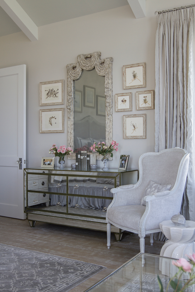 French Interiors paint color. Soothing gray French interiors painted in Benjamin Moore 1471 Shoreline. #FrenchInteriors #paintcolor #graypaintcolor #BenjaminMoore1471Shoreline #BenjaminMooreShoreline