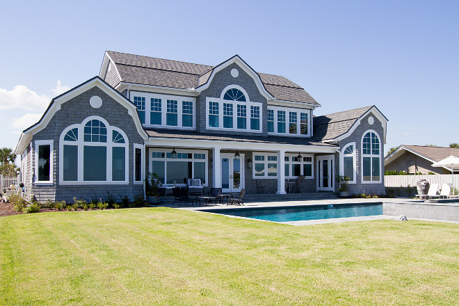 Gambrel beach house back. Timelessly designed shingle beach house. Heritage Homes of Jacksonville and Villa Decor & Design