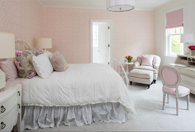 Girls bedroom with pale pink wallpaper by Thibaut Wallpaper. Pale pink. wallpaper. Thibaut Wallpaper. #Girlsbedroom #palepink #pink #wallpaper #ThibautWallpaper Martha O'Hara Interiors