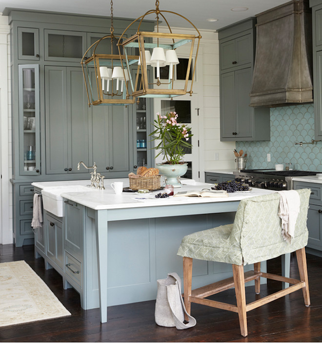 Gray kitchen island with brass lighting. Gray kitchen island with brass lighting ideas. Designer Gray kitchen island with brass lighting. #Graykitchenisland #brasslighting Urban Grace Interiors
