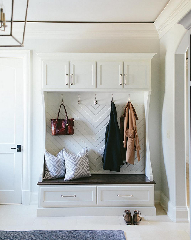 Herringbone pattern in mudroom cubbies. Herringbone pattern in mudroom cubbies. Herringbone pattern in mudroom cubbies Kate Marker Interiors.