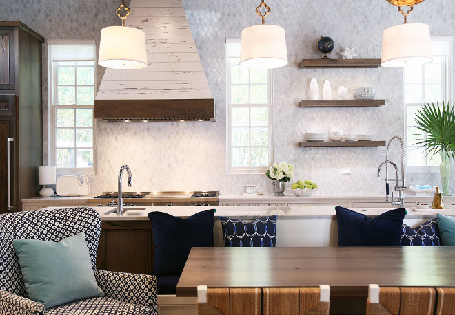 Island Table and Banquette. Island Table and Banquette Ideas. Kitchen layout with Island Table and Banquette. #IslandTableBanquette #IslandTable #islandBanquette Old Seagrove Homes.