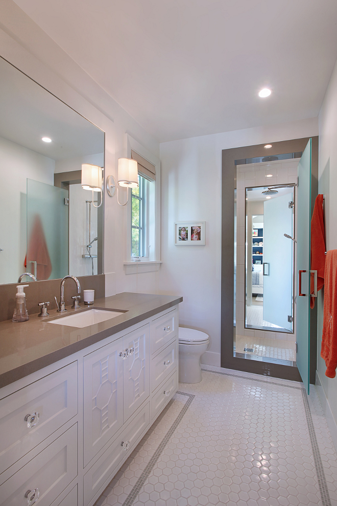 Jack and jill bathroom layout. Spacious Jack and Jill bath with each girl having their own vanity and toilet, shared shower with opaque glass doors. Jack and jill bathroom layout ideas. #Jackandjill #bathroom #layout Patterson Custom Homes. Interiors by Trish Steele of Churchill Design.