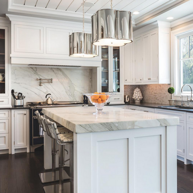 Kitchen Lighting. Kitchen Island Lighting. Kitchen island lighting is Basil Small Hanging Shades by Alexa Hampton in Polished Nickel. #BasilSmallHangingShades #AlexaHamptonLighting SIR Development