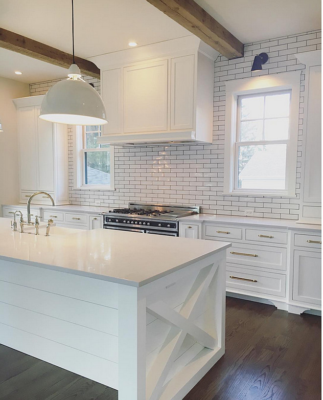 Kitchen shiplap island. Kitchen shiplap island and x mullion on the sides. Kitchen shiplap island. Kitchen shiplap island  #Kitchen #shiplapisland #xmullion #xisland Kate Marker Interiors.