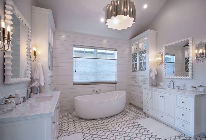 Master Bath mirror. Mirror is from Mirror Image Home in Los Angeles. Patterson Custom Homes. Interiors by Trish Steele of Churchill Design.