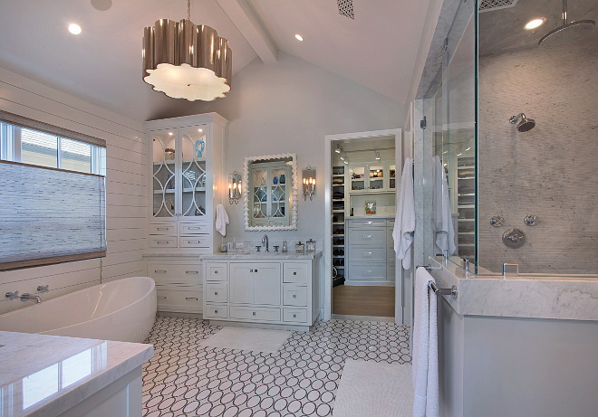 Master Bathroom. Lighting is from Visual Comfort. All cabinet hardware and door hardware by Emtek. Patterson Custom Homes. Interiors by Trish Steele of Churchill Design.