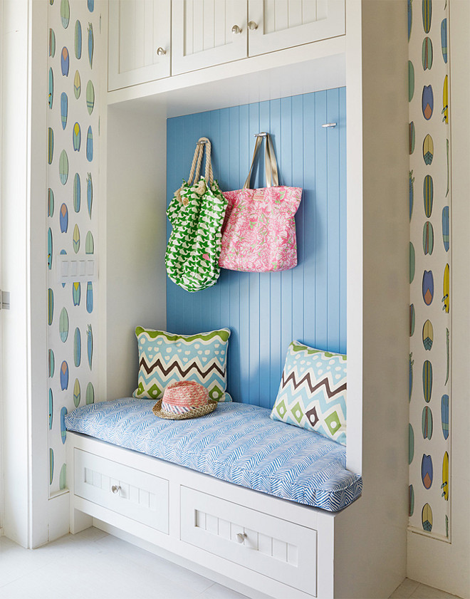 Mudroom. Small mudroom cabinet ideas. Small mudroom cabinet with beadboard walls. Small mudroom cabinet #Smallmudroomcabinet #mudroomcabinet #mudroom Andrew Howard Interior Design