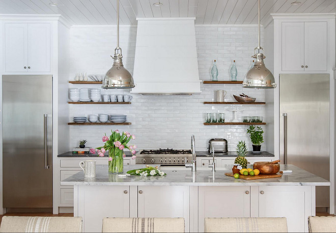 Open shelves beside kitchen hood. Kitchen with open shelves beside hood. Open shelves in kitchen. #Openshelves #shelvesbesidehood #kitchenhood #hoodshelves Heritage Homes of Jacksonville