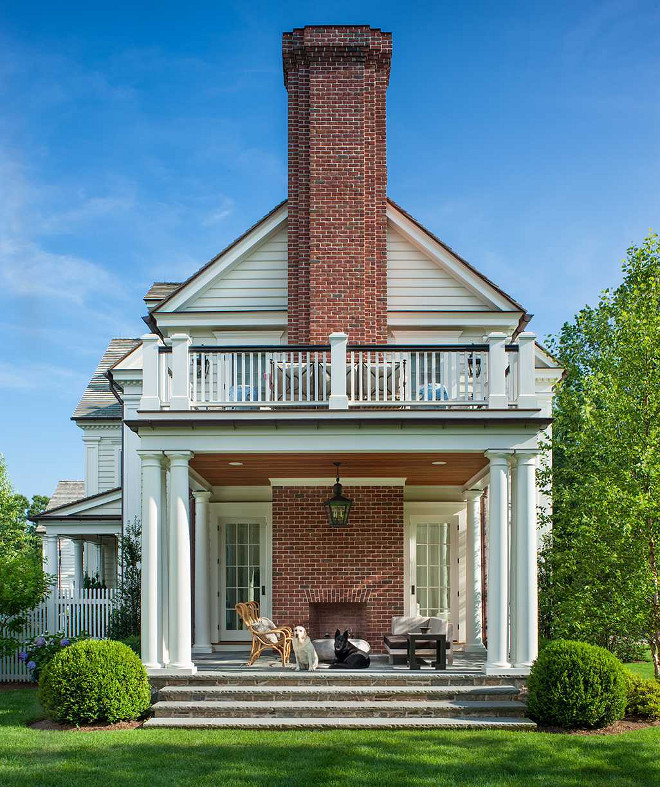 Outdoor Fireplace. Porch with outdoor brick fireplace. Porch Outdoor Brick Fireplace #Porch #outdoorfireplace #Outdoorbrickfireplace #brickfireplace Mark P. Finlay Architects, AIA.